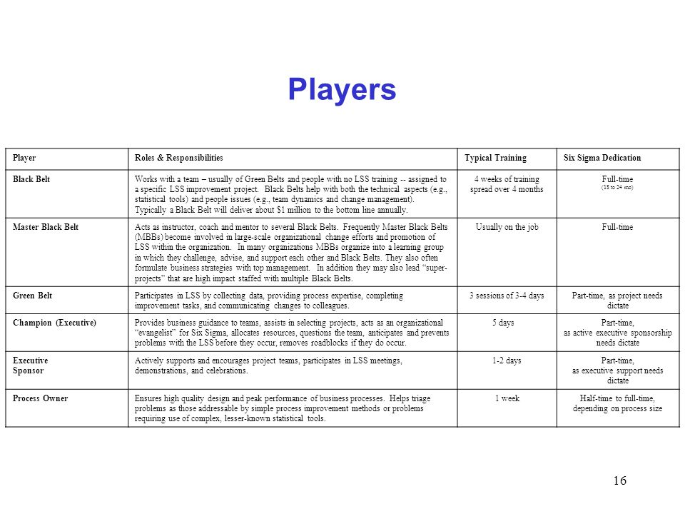 Players Player Roles & Responsibilities Typical Training