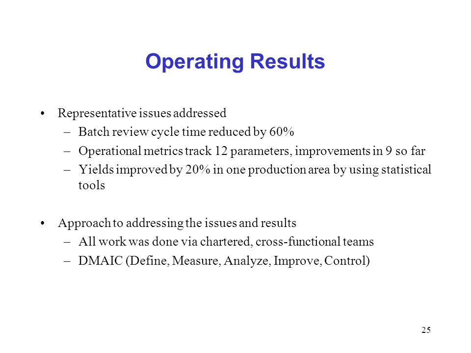 Operating Results Representative issues addressed