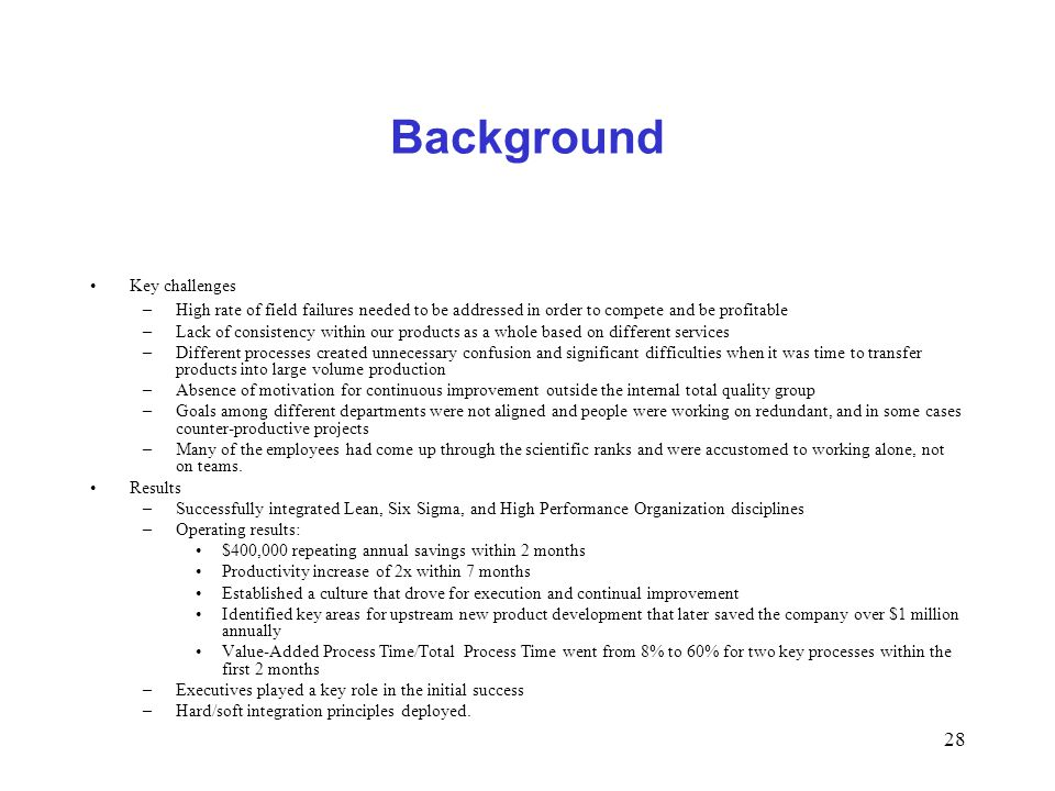 Background Key challenges