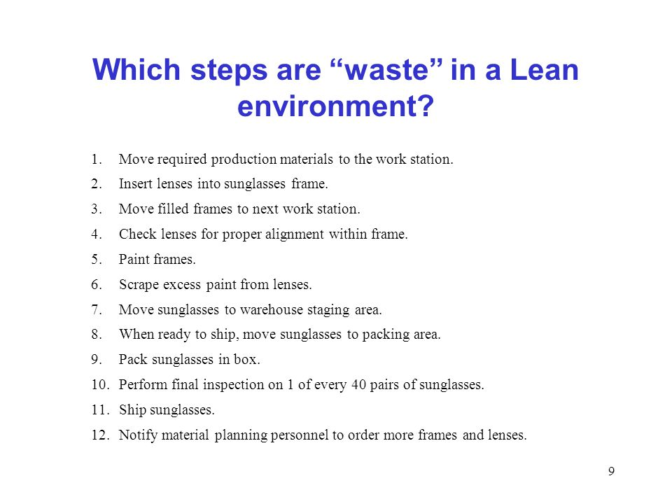 Which steps are waste in a Lean environment