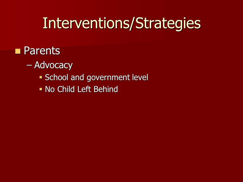 Interventions/Strategies