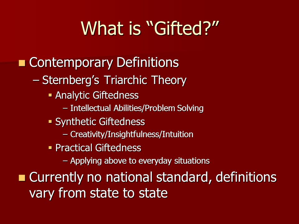 What is Gifted Contemporary Definitions