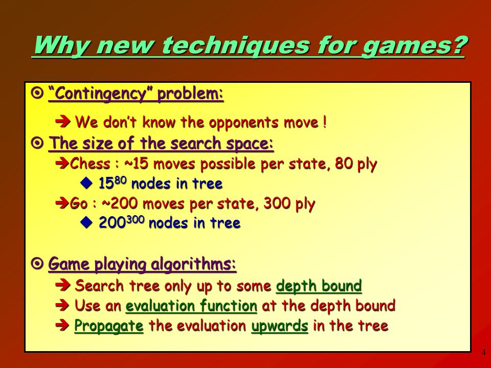 Why new techniques for games