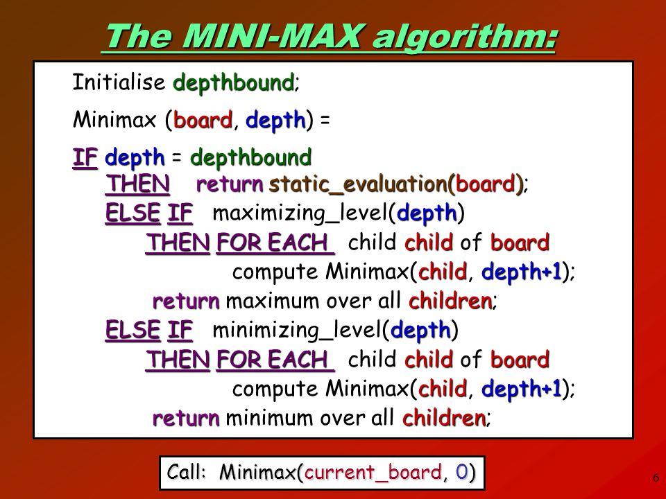 The MINI-MAX algorithm:
