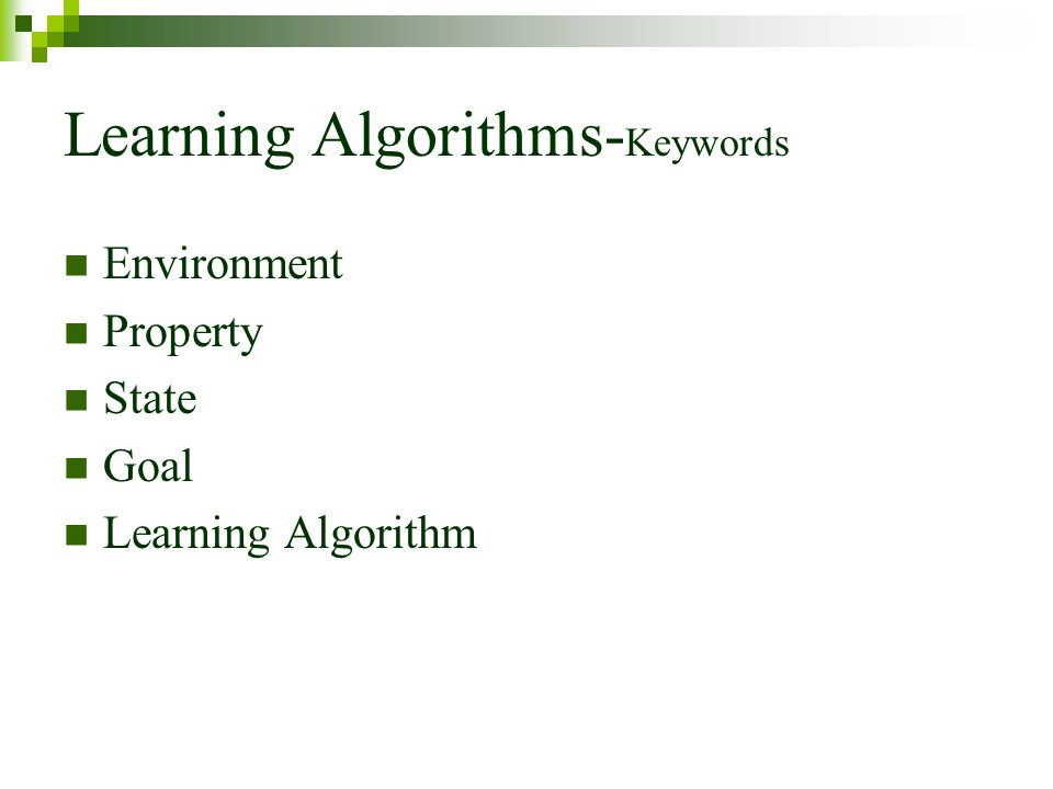 Learning Algorithms-Keywords