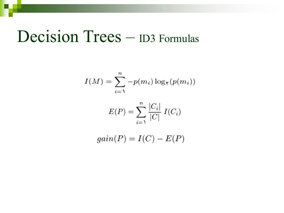 Decision Trees – ID3 Formulas