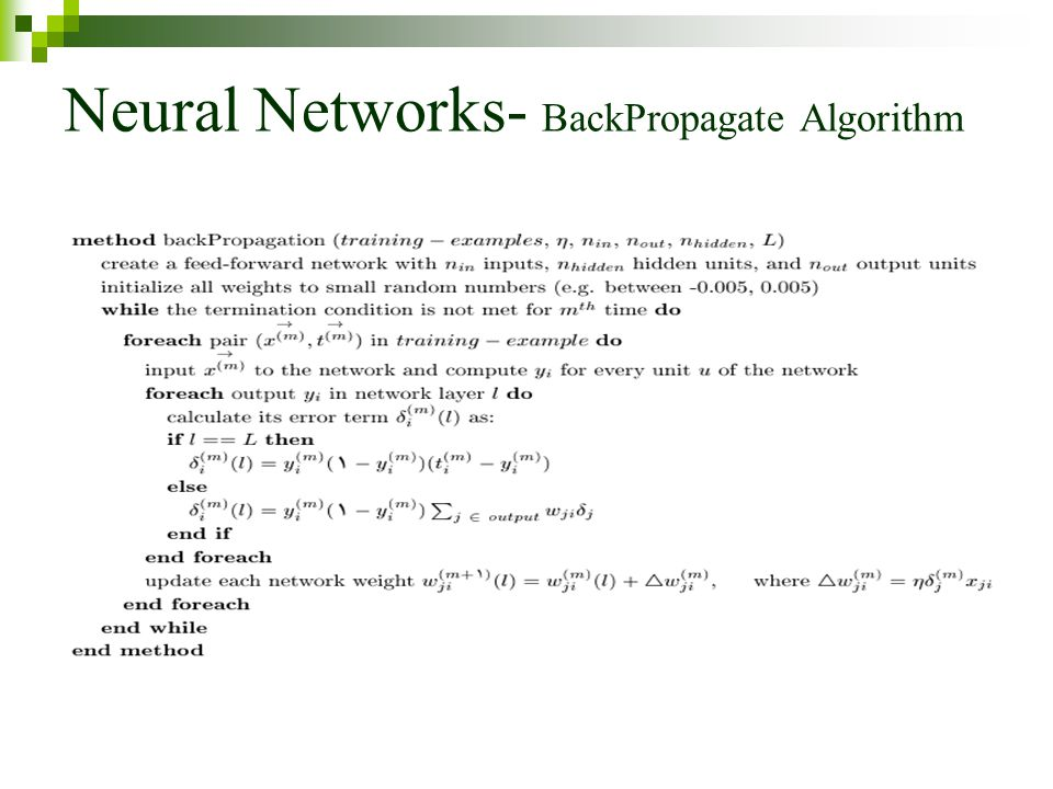 Neural Networks- BackPropagate Algorithm