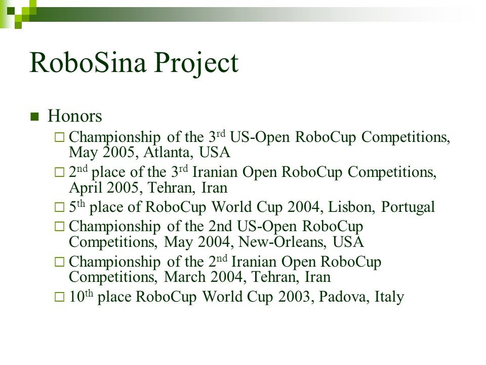 RoboSina Project Honors