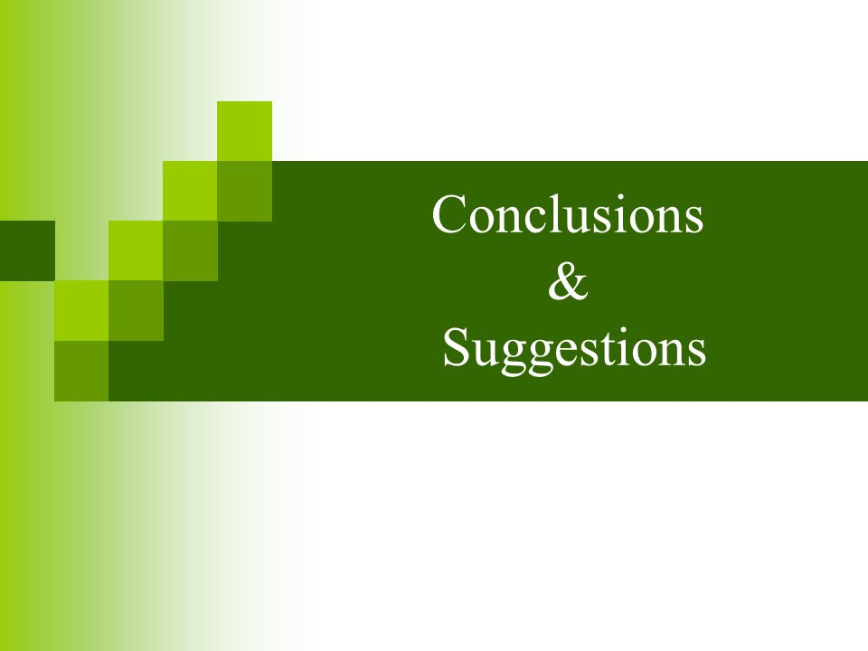 Conclusions & Suggestions
