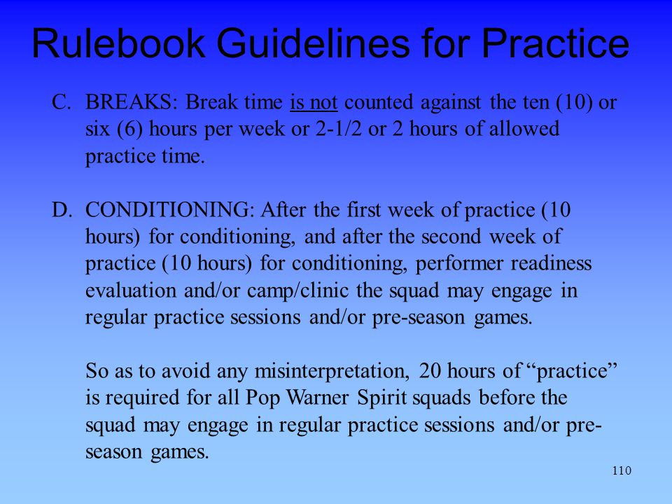 Rulebook Guidelines for Practice