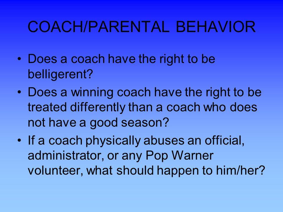 COACH/PARENTAL BEHAVIOR