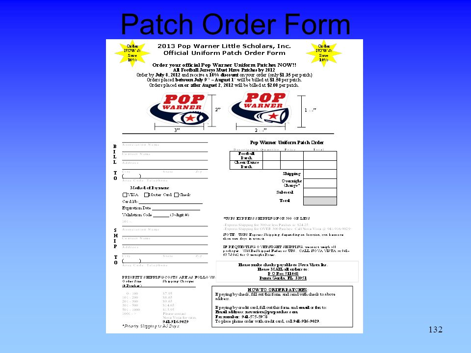 Patch Order Form 132