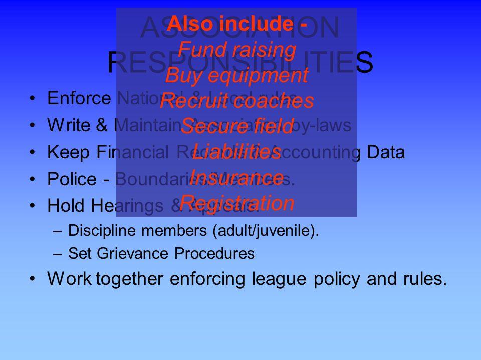 ASSOCIATION RESPONSIBILITIES