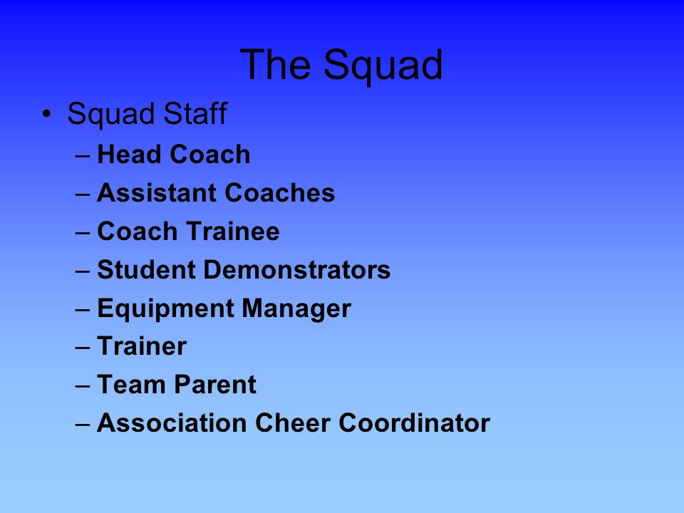 The Squad Squad Staff Head Coach Assistant Coaches Coach Trainee