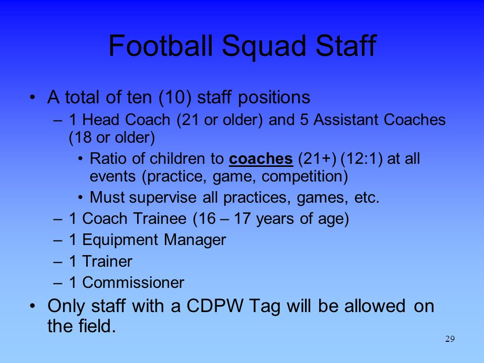 Football Squad Staff A total of ten (10) staff positions