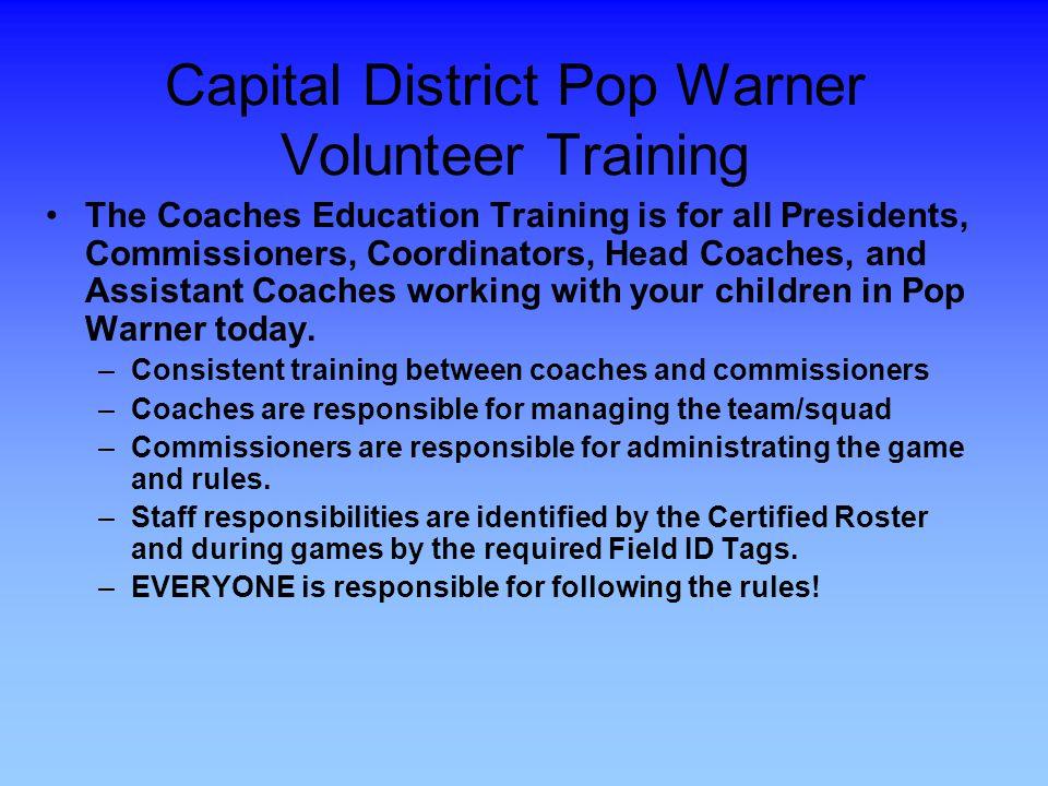 Capital District Pop Warner Volunteer Training