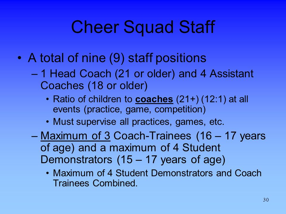 Cheer Squad Staff A total of nine (9) staff positions