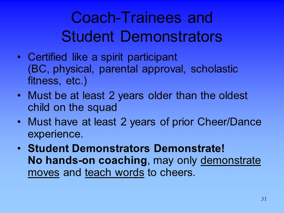 Coach-Trainees and Student Demonstrators