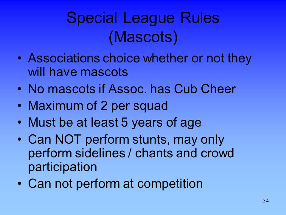 Special League Rules (Mascots)