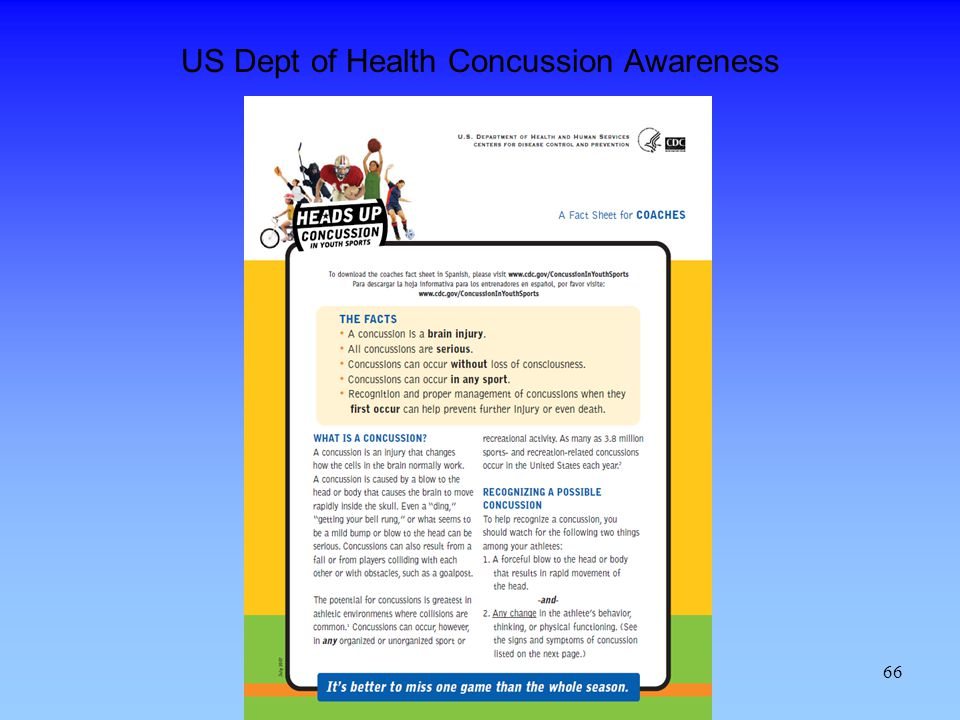US Dept of Health Concussion Awareness
