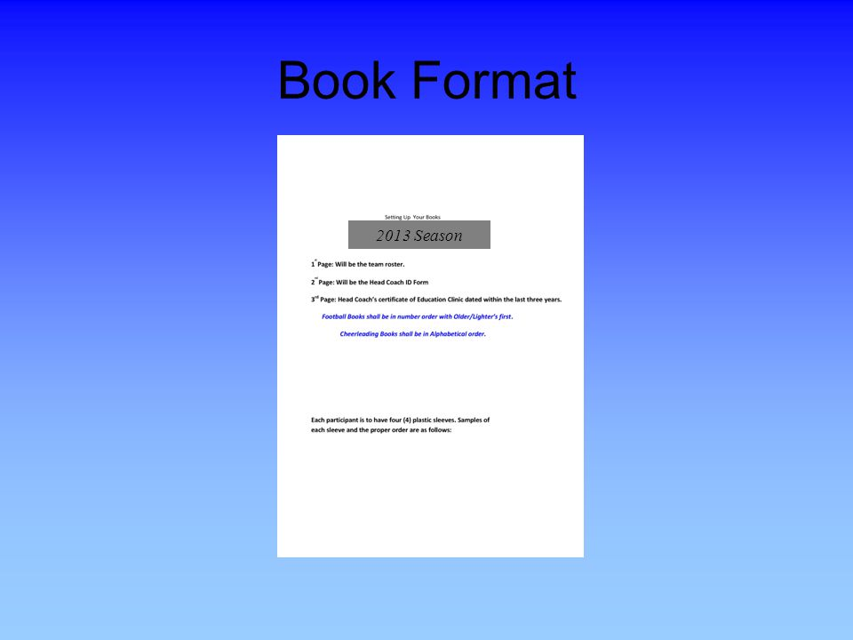 Book Format 2013 Season