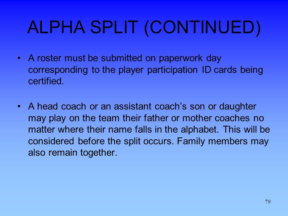 ALPHA SPLIT (CONTINUED)