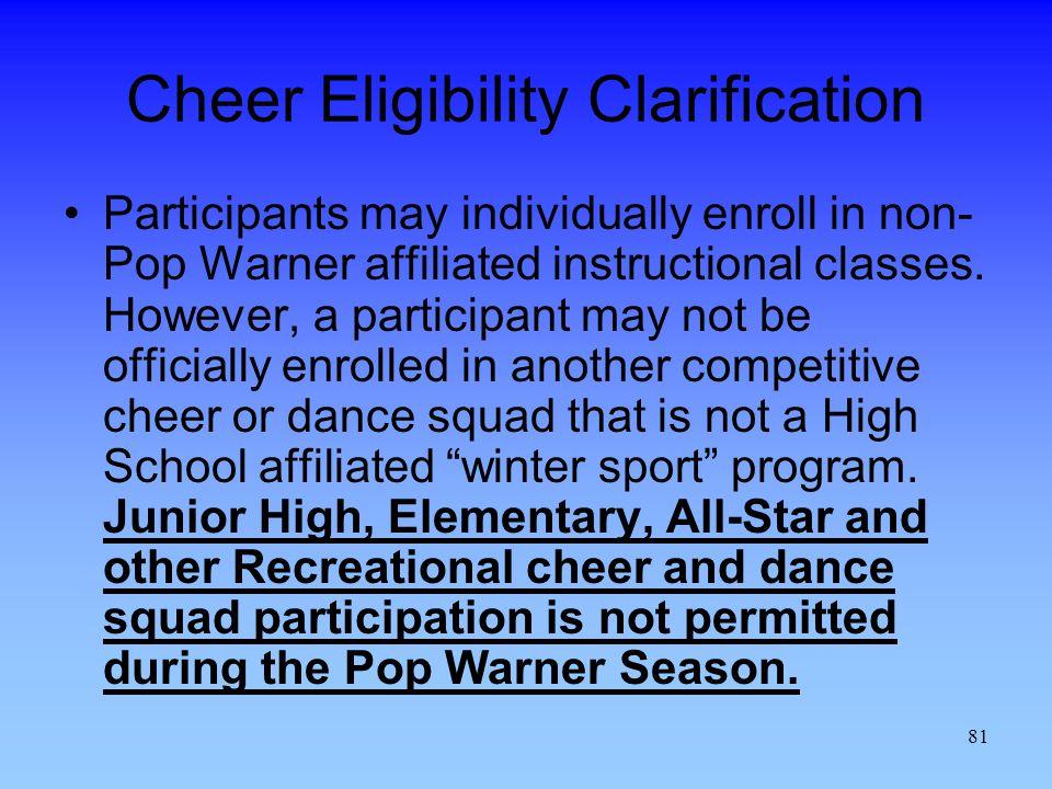 Cheer Eligibility Clarification