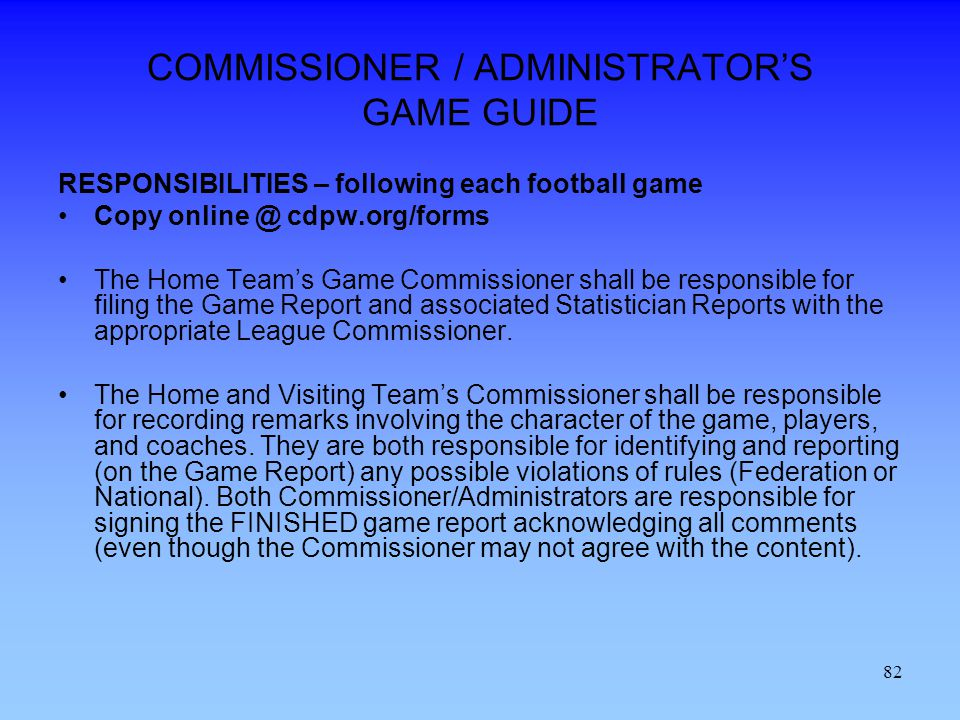 COMMISSIONER / ADMINISTRATOR'S GAME GUIDE