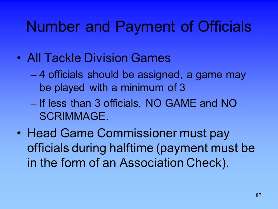 Number and Payment of Officials