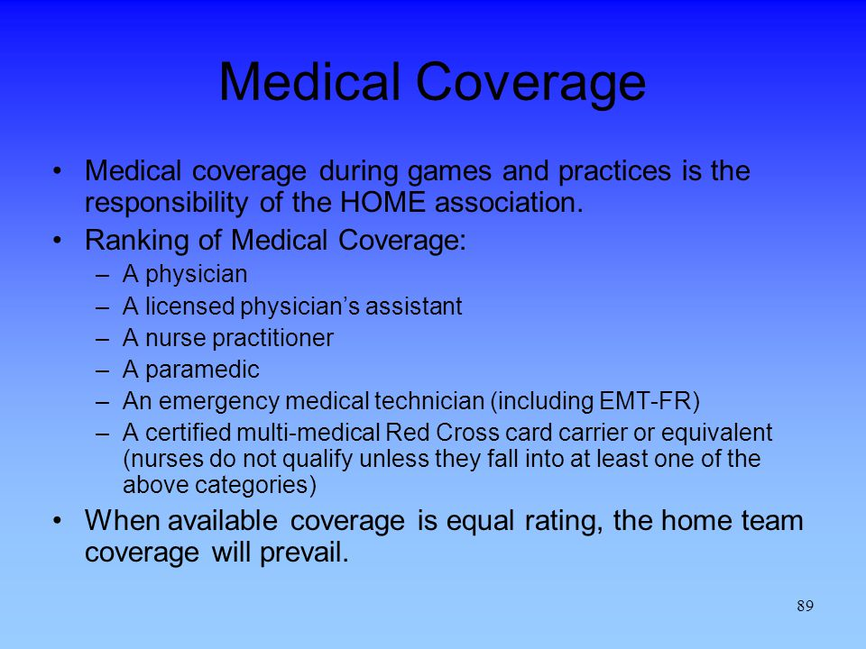 Medical Coverage Medical coverage during games and practices is the responsibility of the HOME association.