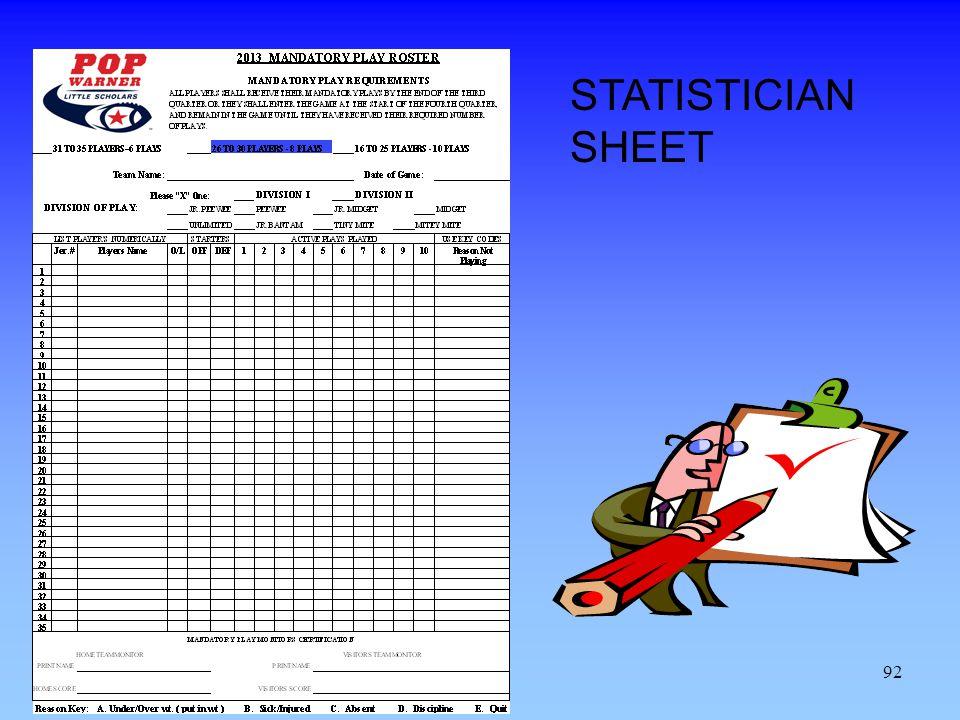STATISTICIAN SHEET