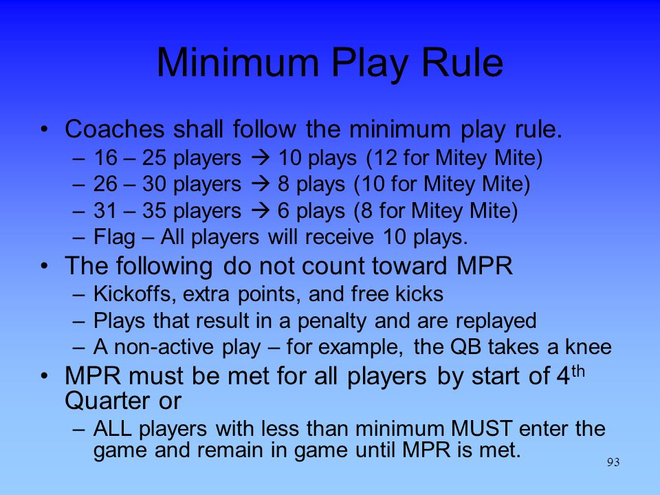 Minimum Play Rule Coaches shall follow the minimum play rule.