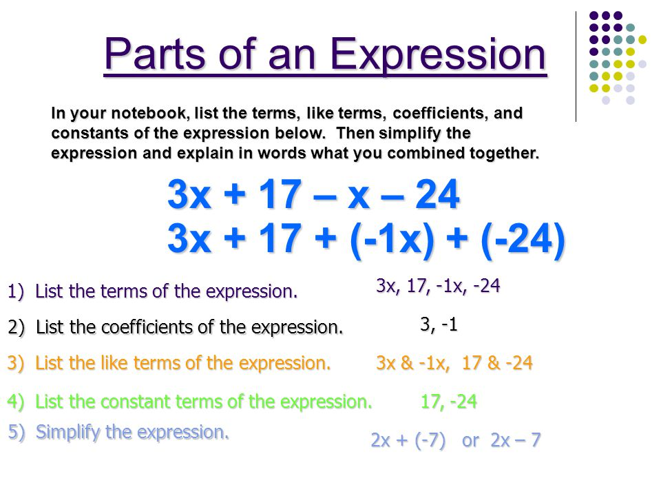 Parts of an Expression 3x + 17 – x – 24 3x + 17 + (-1x) + (-24)