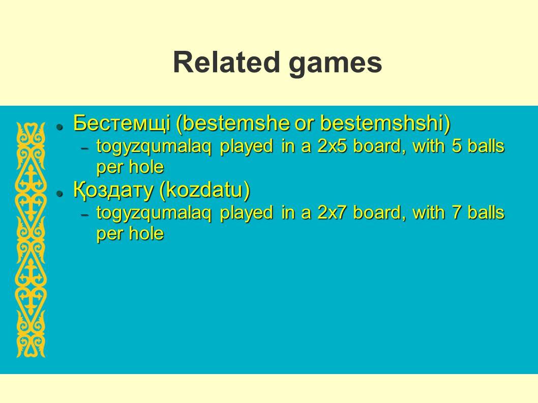 Related games Бестемщі (bestemshe or bestemshshi) Қоздату (kozdatu)