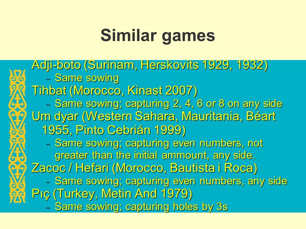 Similar games Adji-boto (Surinam, Herskovits 1929, 1932)