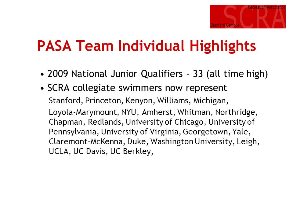 PASA Team Individual Highlights