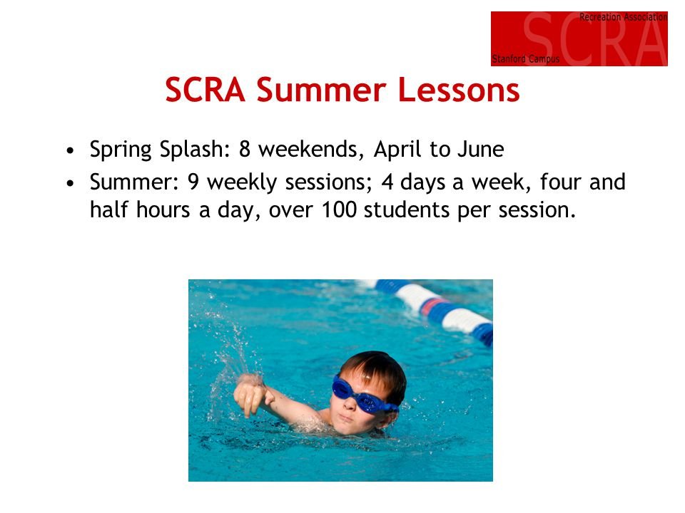 SCRA Summer Lessons Spring Splash: 8 weekends, April to June