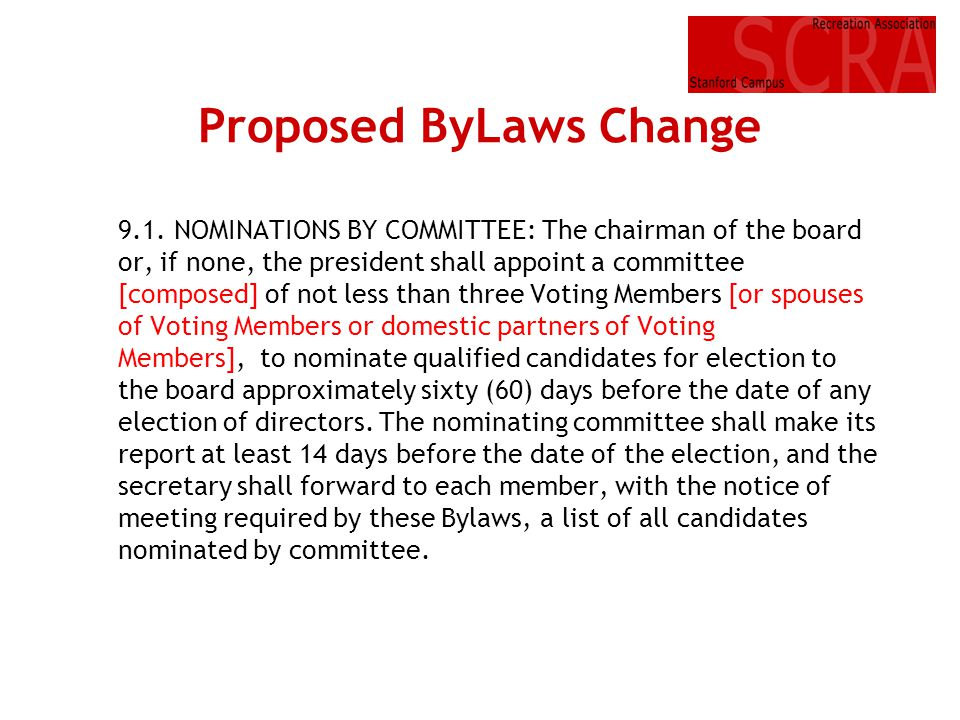 Proposed ByLaws Change