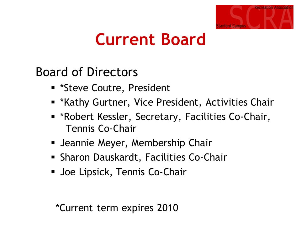 Current Board Board of Directors *Steve Coutre, President