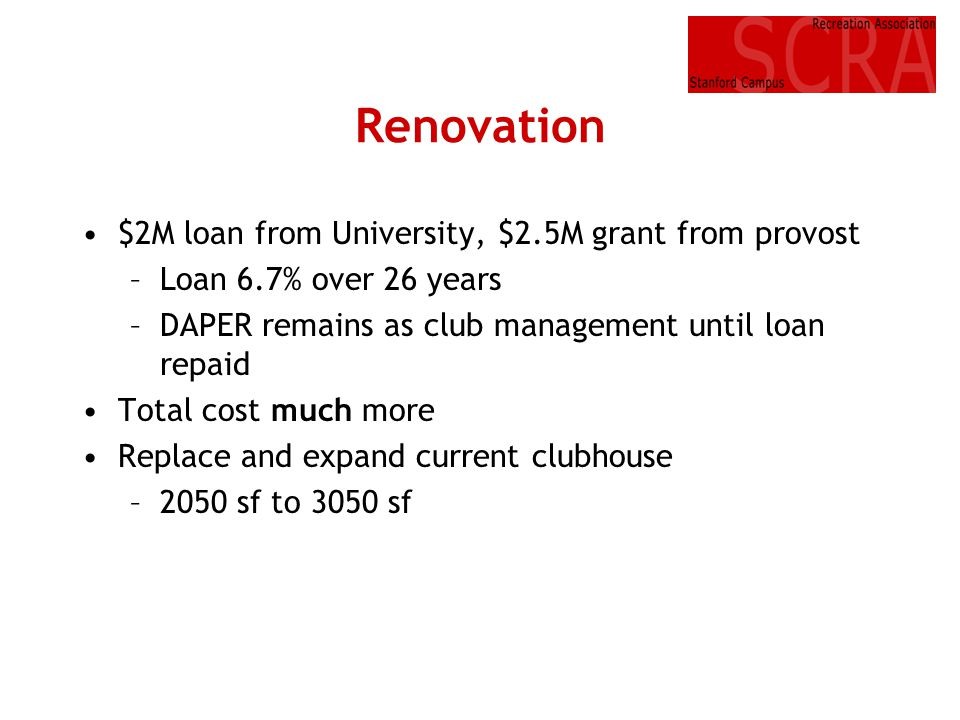 Renovation $2M loan from University, $2.5M grant from provost