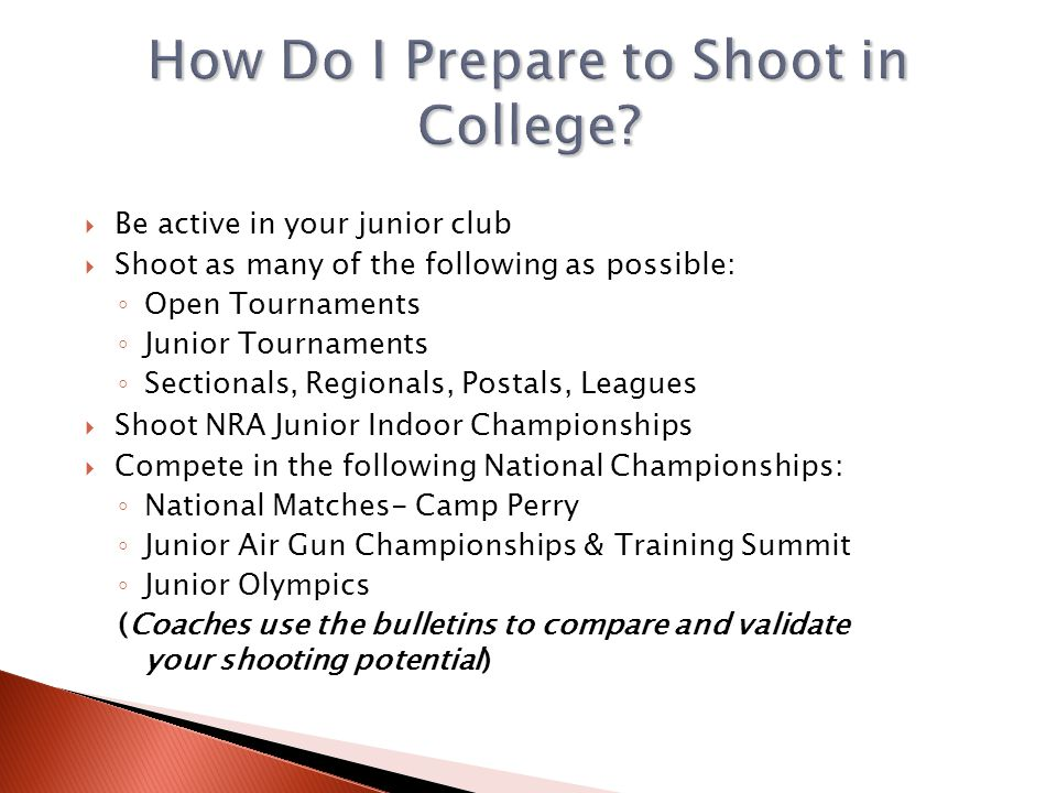 How Do I Prepare to Shoot in College