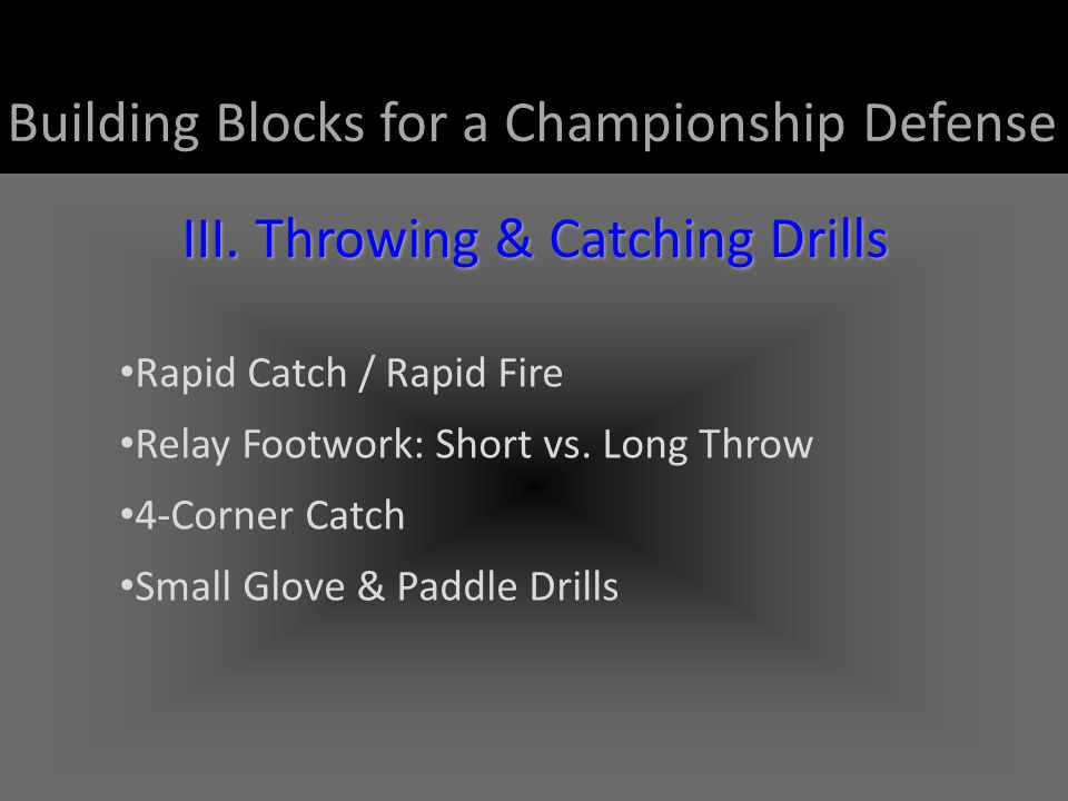 III. Throwing & Catching Drills