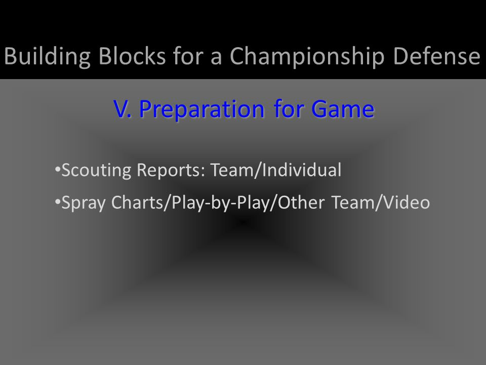 Building Blocks for a Championship Defense