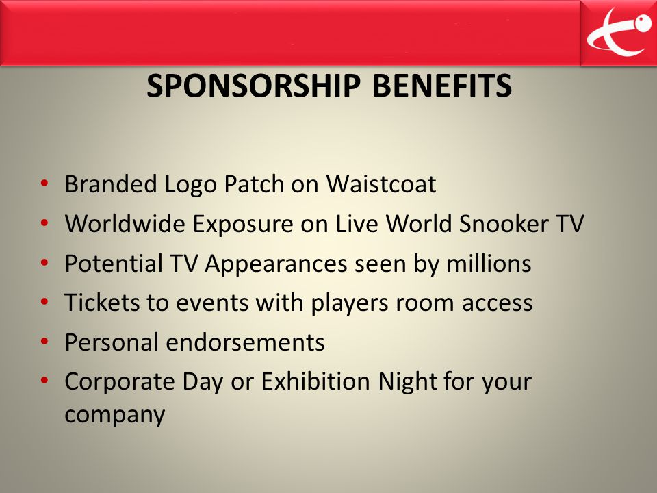 SPONSORSHIP BENEFITS Branded Logo Patch on Waistcoat