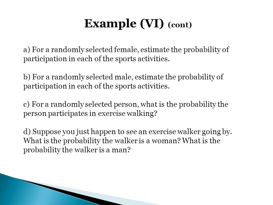 Example (VI) (cont) a) For a randomly selected female, estimate the probability of participation in each of the sports activities.