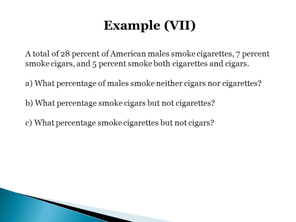 Example (VII) A total of 28 percent of American males smoke cigarettes, 7 percent smoke cigars, and 5 percent smoke both cigarettes and cigars.