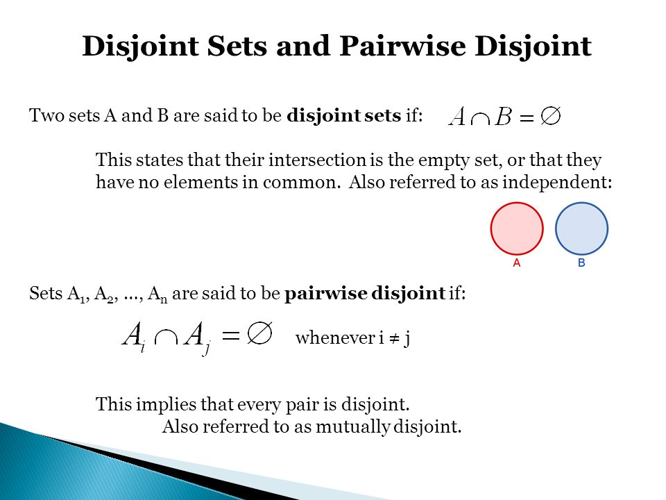 Disjoint Sets and Pairwise Disjoint