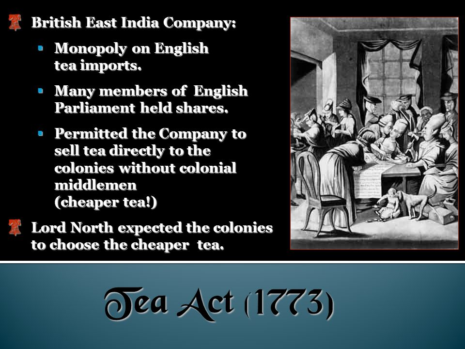 Tea Act (1773) British East India Company: