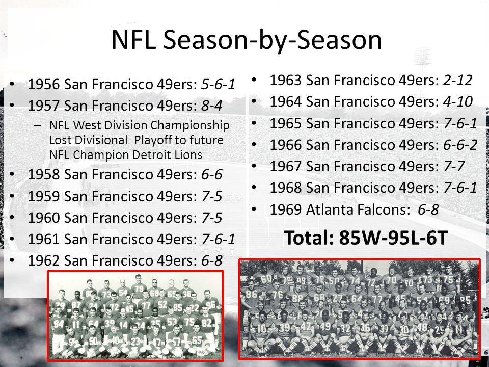 NFL Season-by-Season Total: 85W-95L-6T 1963 San Francisco 49ers: 2-12