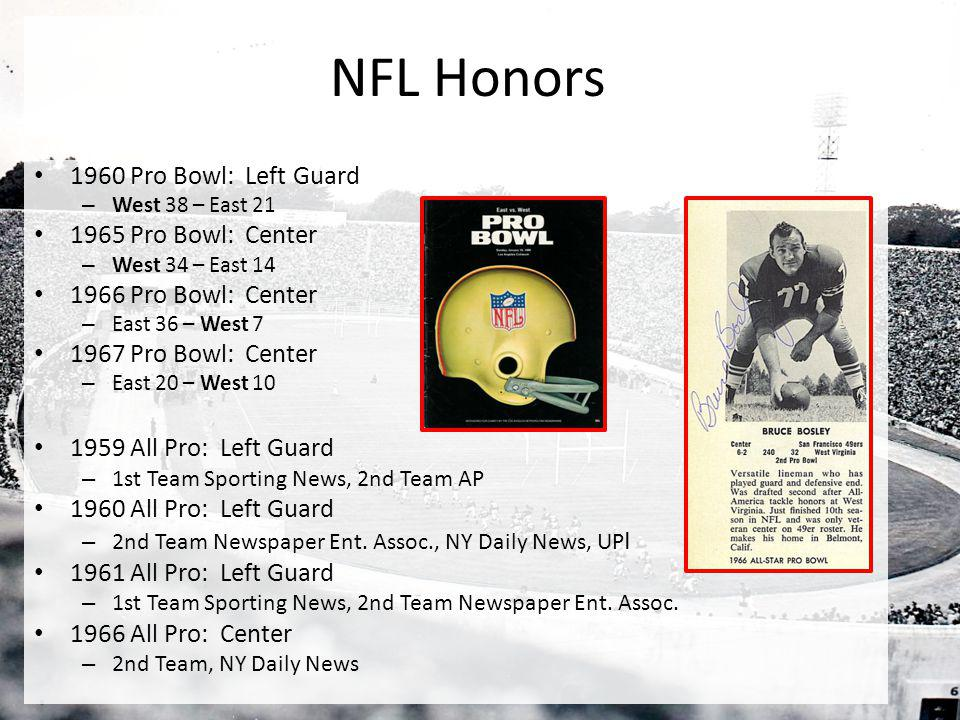 NFL Honors 1960 Pro Bowl: Left Guard 1965 Pro Bowl: Center